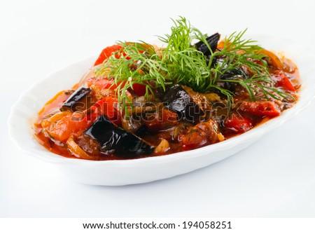 eggplant, cheese and tomato sauce - stock photo