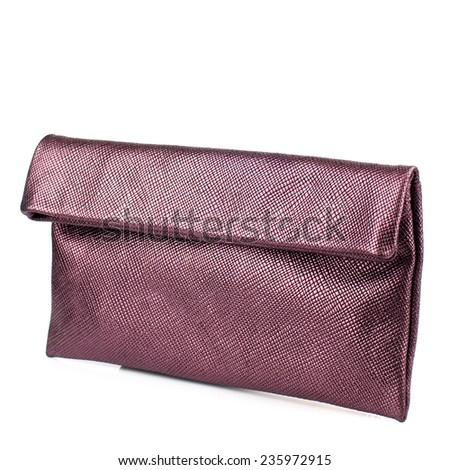 Eggplant clutch isolated on white background.