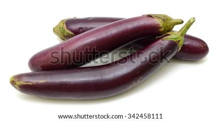 eggplant fruits isolated on white background - stock photo