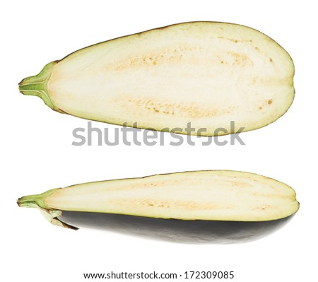 Eggplant half isolated over white background, set of two foreshortenings - stock photo
