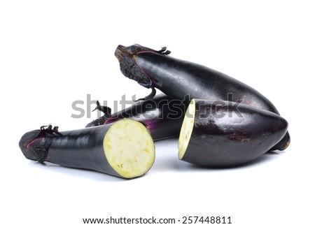 eggplant or aubergine vegetable on white background - stock photo