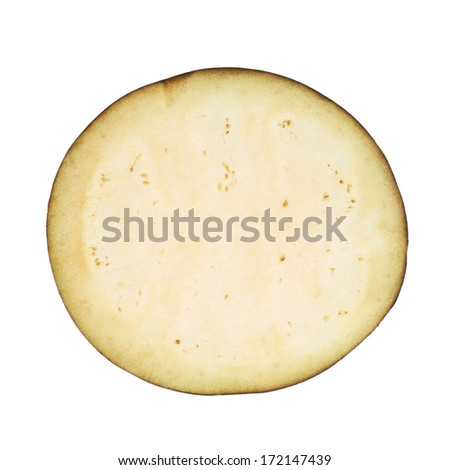 Eggplant section cut slice isolated over white background