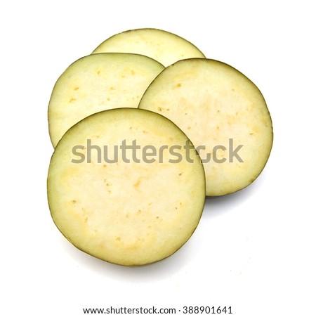 eggplant sliced isolated on white  - stock photo