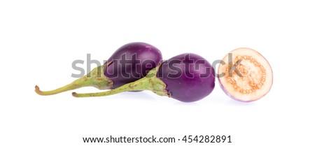 Eggplant slices and purple eggplant isolated on white background - stock photo