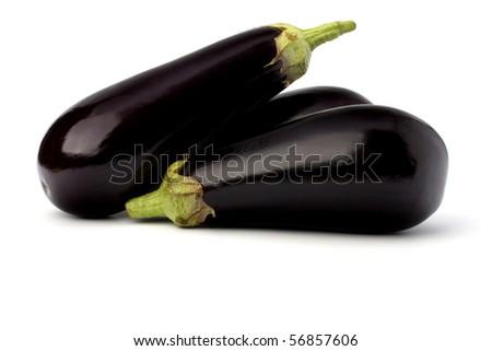 eggplants isolated on white background close up - stock photo