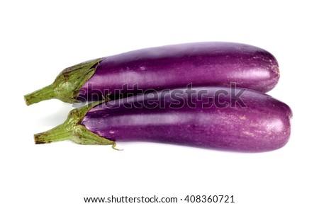eggplants on white background - stock photo