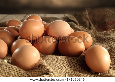eggs and brown space  - stock photo