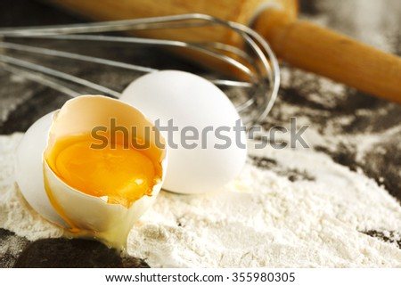 Eggs and flour for baking.