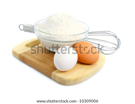 eggs and flour ingredients for dough preparation  isolated over white background - stock photo