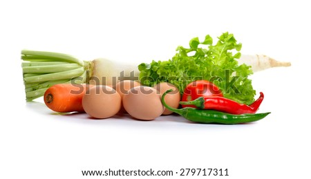 Eggs and Fresh vegetables isolated on blackground. - stock photo
