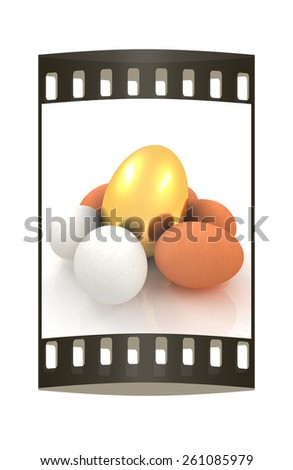 Eggs and gold easter egg. The film strip - stock photo