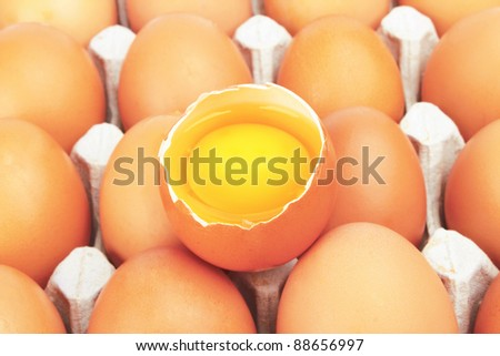 Eggs and one broken in the middle in carton - stock photo