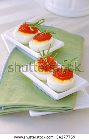 Eggs and red caviar