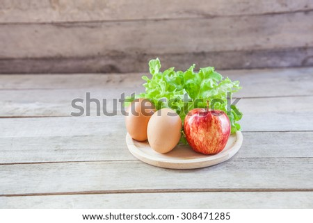 Eggs and Vegetable for heath still life. - stock photo