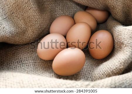 EGGS, Animal Eggs, Chicken-Bird Eggs, Hen eggs in sackcloth. - stock photo