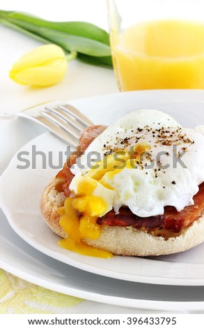 Eggs benedict makeover.  This lighter version omits hollandaise sauce.  The egg yolk is creamy enough on its own