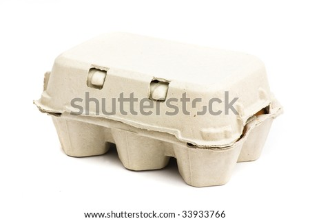 eggs cardboard isolated - stock photo