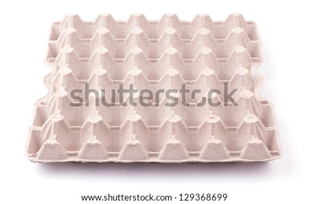 Eggs carton box isolated on white background - stock photo