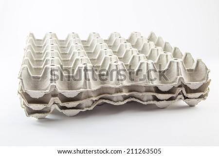 Eggs carton box  on white background - stock photo