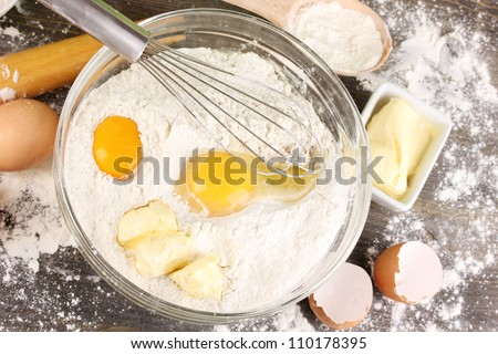 Eggs, flour and butter close-up - stock photo