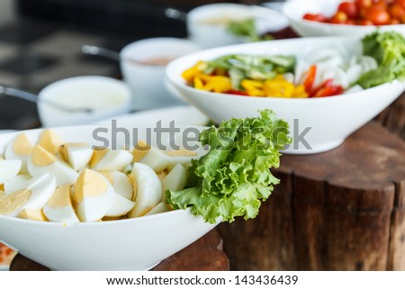 Eggs for vegetables salad bar on a counter