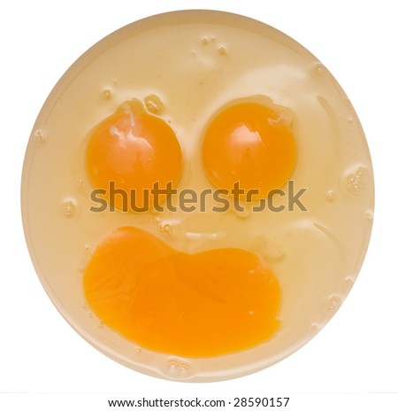 eggs forming a smiling face - stock photo