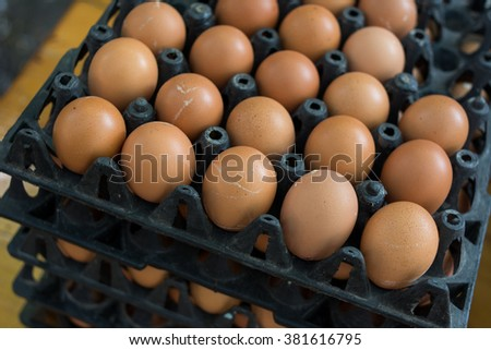 Eggs from chicken farm in the plastic black tray package