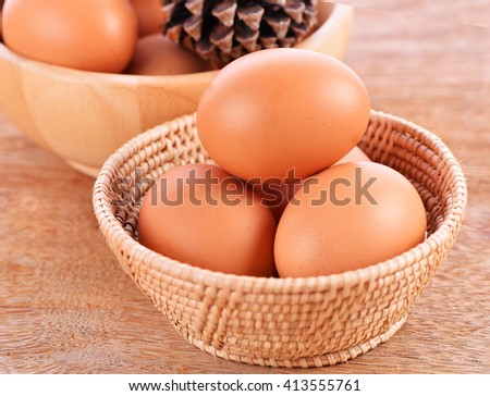 Eggs in a basket on the wooden floor