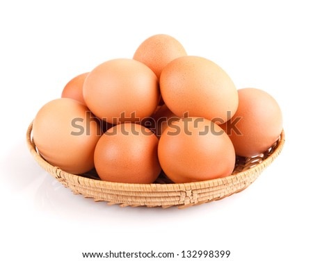 eggs in a bowl isolated on white