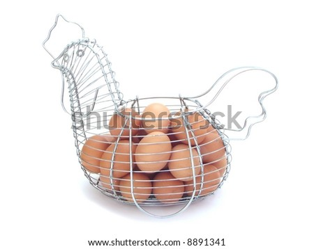 Eggs in a metal basket - stock photo