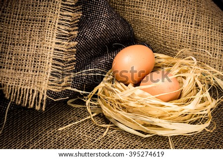 Eggs in a nest on fabric texture background