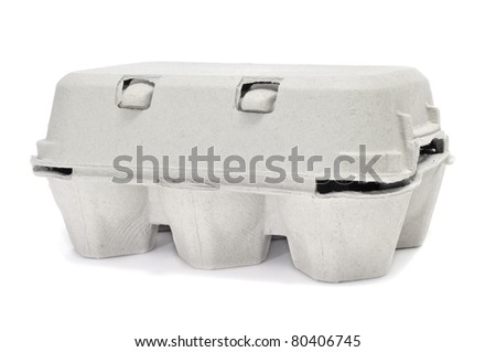 eggs in an egg carton on a white background - stock photo