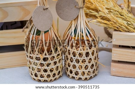 Eggs in basket,Eggs  - stock photo