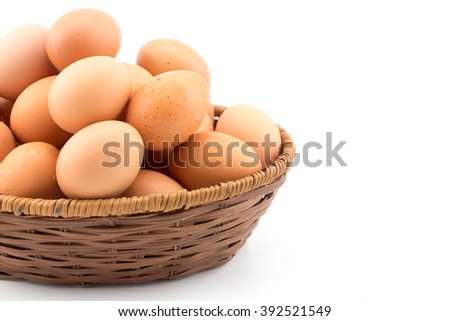 Eggs in basket white background