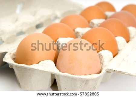 Eggs in cardboard packing on a white background - stock photo