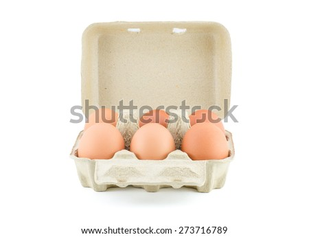 Eggs in Carton isolate on white with clipping path - stock photo