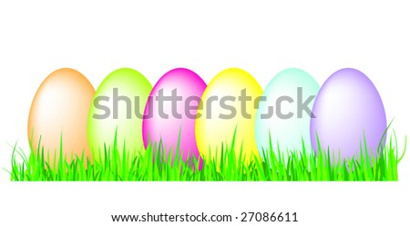 Eggs in grass illustration - stock photo