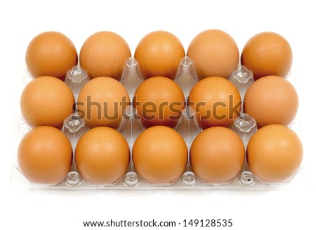 Eggs in plastic package - stock photo