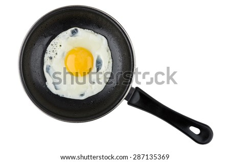 Eggs in small pan with plastic handle isolated on white background - stock photo