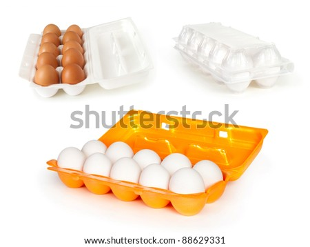 eggs in the boxes isolated on white - stock photo