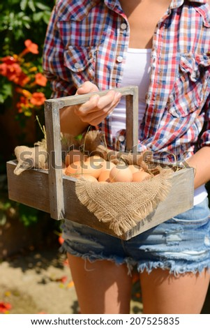 Eggs in wooden basket in female hands outdoors