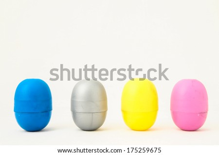 Eggs of a Slot Machine on White Background - stock photo