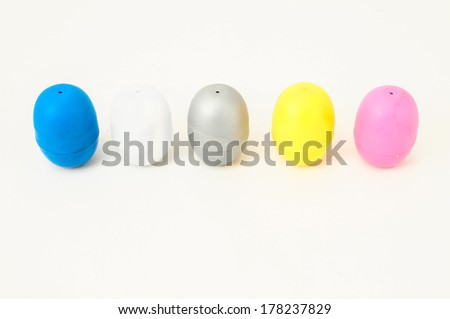 Eggs of a Slot Machine on White Background
