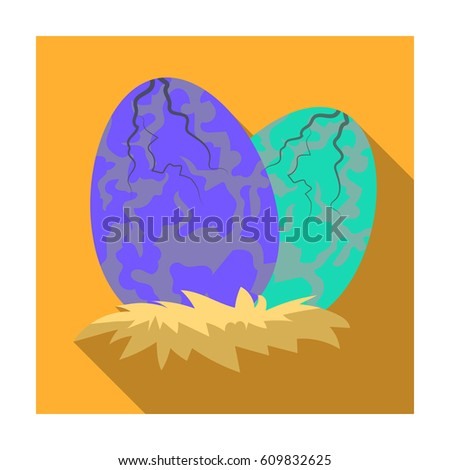 Eggs of dinosaur icon in flat style isolated on white background. Dinosaurs and prehistoric symbol stock bitmap illustration.