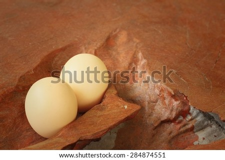 Eggs on a background of brown wooden. - stock photo