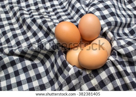 eggs on a cloth background