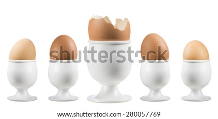 eggs on eggcup in a row with broken one on white background - stock photo