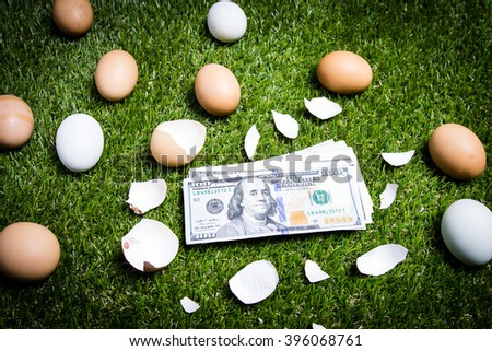Eggs on green grass with 100 dollars bank  Concept gift from easter - stock photo