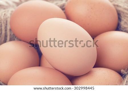 eggs,vintage color tone - stock photo