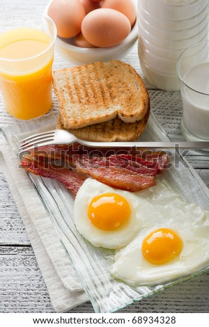 eggs with bacon for breakfast - stock photo